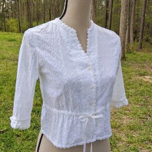 Isaac Mizrahi White Eyelet Button-down Top